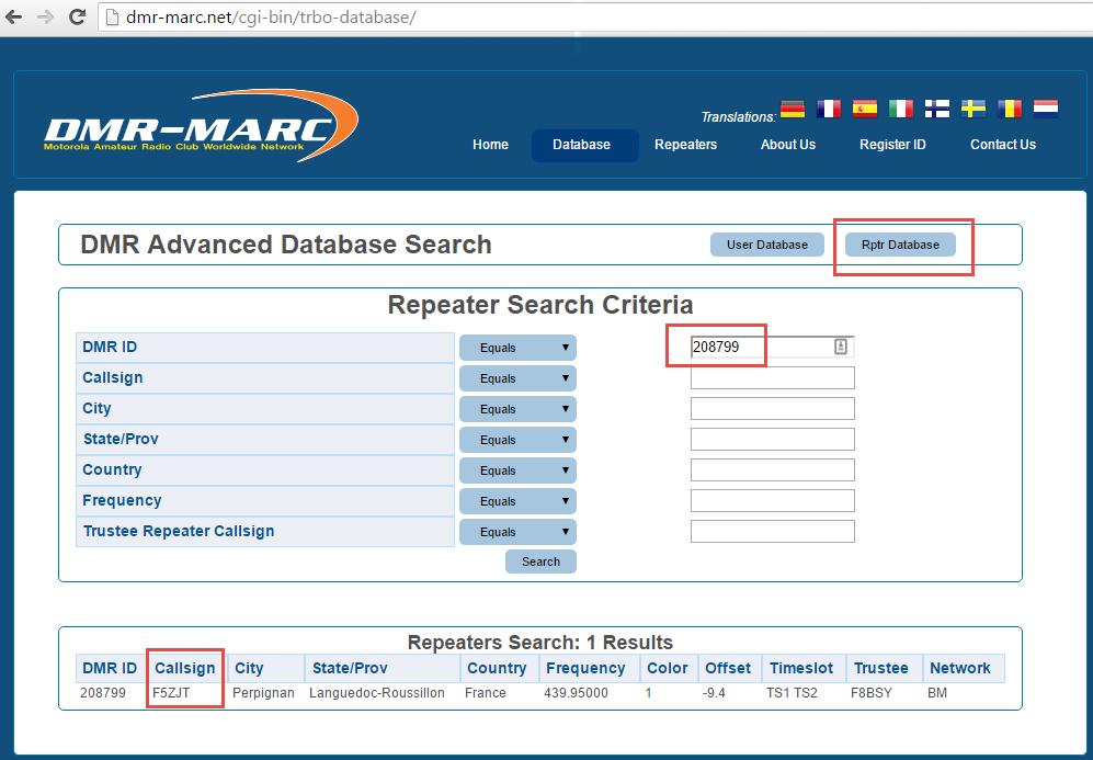 Requète sur la base de données DMR Marc