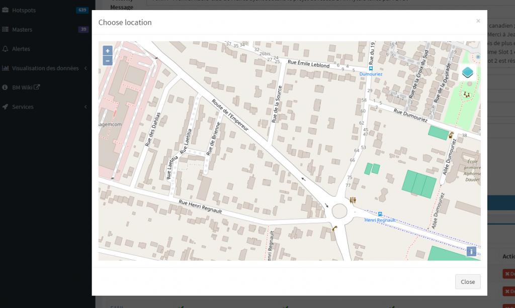 Selectioner l'emplacement d'un relais BrandMeister DMR directement sur une carte